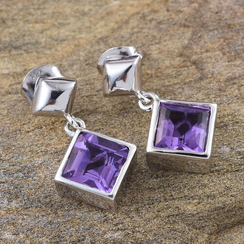 Lavender Alexite (Sqr) Earrings (with Push Back) in Platinum Overlay Sterling Silver 3.000 Ct.