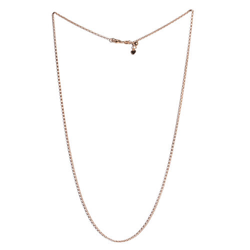 Rose Gold Overlay Sterling Silver Adjustable Oval Rolo Chain (Size 24), Silver wt 3.60 Gms.