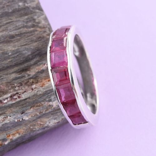 African Ruby (Sqr) Half Eternity Ring in Platinum Overlay Sterling Silver 2.000 Ct.