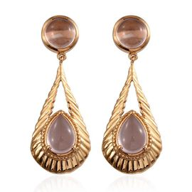 Rose Quartz (Pear) Earrings (with Push Back) in 14K Gold Overlay Sterling Silver 9.000 Ct.