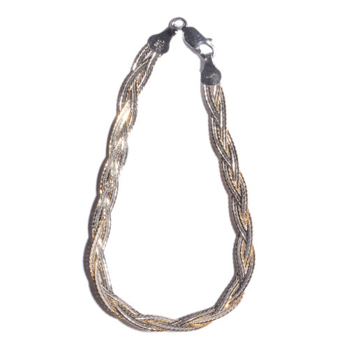 14K Gold Overlay Sterling Silver Braided Bracelet (Size 7.5), Silver wt 4.70 Gms.