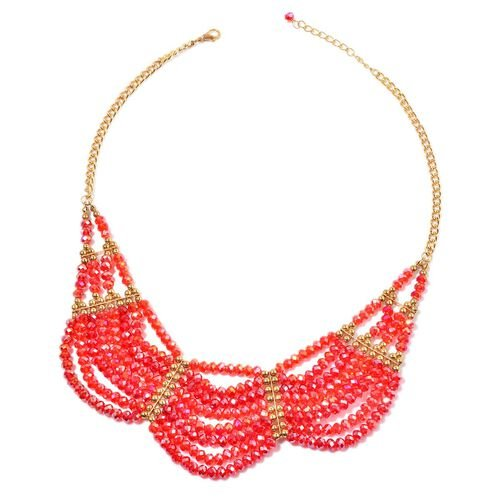 Red Colour Faceted Crystal Necklace (Size 20) in Gold Tone