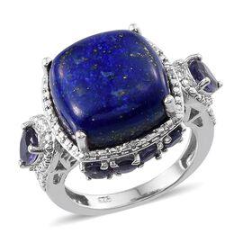 Lapis Lazuli (Cush 12.25 Ct), Iolite and Diamond Ring in Platinum Overlay Sterling Silver 13.520 Ct.