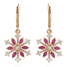 African Ruby (Mrq), Natural Cambodian Zircon Snowflake Lever Back Earrings in 14K Gold Overlay Sterling Silver 2.250 Ct.