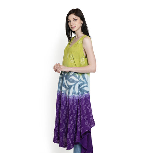 Midi Length Paisley and Floral Pattern Green and Purple Colour Dress (Free Size)