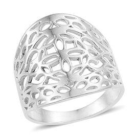 Designer Inspired-Sterling Silver Open Filgree Ring, Silver wt 5.08 Gms.