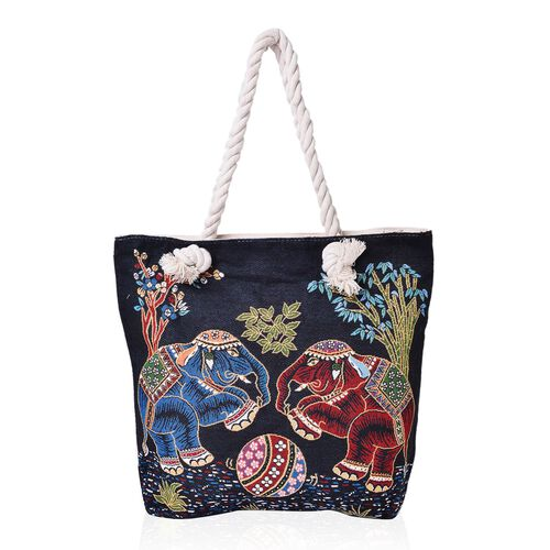 Black, Red and Multi Colour Elephant Pattern Jacquard Tote Bag (Size 43X37X34X11 Cm)