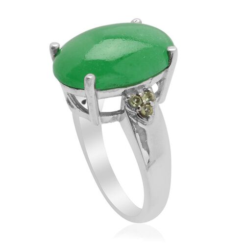 Enhanced Green Jade (Ovl 11.00 Ct) Hebei Peridot Ring in Platinum Overlay Sterling Silver  11.150 Ct.