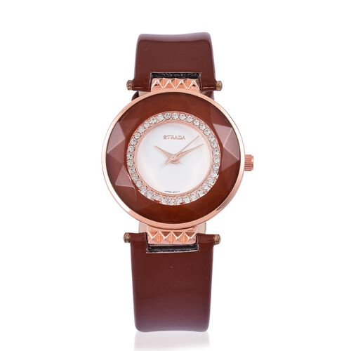 STRADA Japanese Movement White Austrian Crystals Studded Watch in Rose Gold Tone with Chocolate Colour Strap