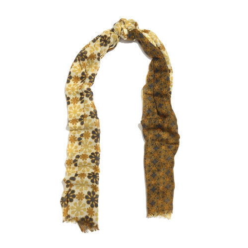 100% Merino Wool Brown, Yellow and Multi Colour Floral Printed Scarf with Fringes (Size 170X70 Cm)
