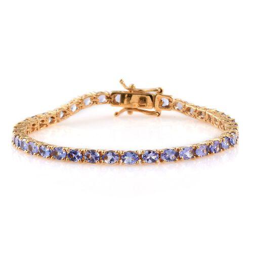 Tanzanite (Ovl) Bracelet (Size 6.5) in 14K Gold Overlay Sterling Silver 5.500 Ct.