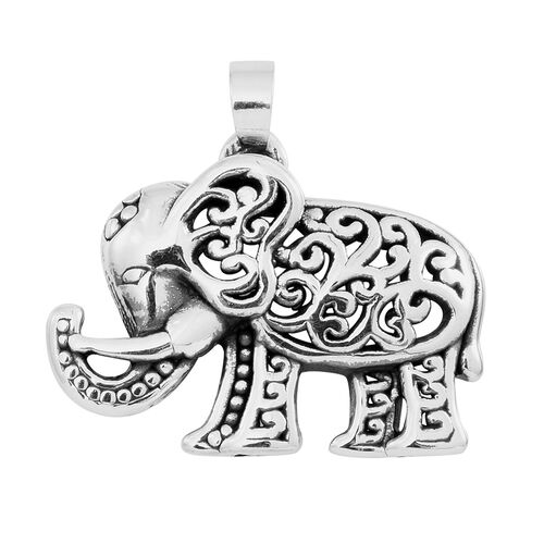 Royal Bali Collection- Sterling Silver Elephant Pendant, Silver wt. 3.76 Gms.