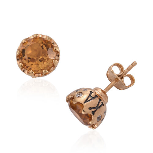 JCK Vegas Collection Citrine (Rnd), Natural Cambodian Zircon Stud Earrings (with Push Back) in Yellow Gold Overlay Sterling Silver 5.187 Ct.