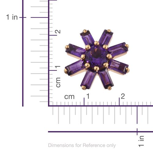 Amethyst (Rnd) Flower Stud Earrings (with Push Back) in 14K Gold Overlay Sterling Silver 4.750 Ct.