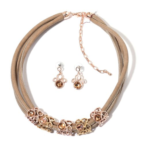 AAA Champagne Colour Austrian Crystal Necklace (Size 18) and Earrings in Yellow and Rose Gold Tone