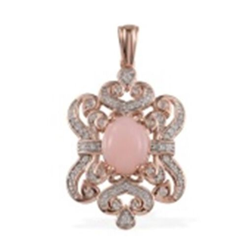 Peruvian Pink Opal (Ovl), Natural Cambodian Zircon Pendant with Chain in Rose Gold Plated Silver 5.236 Ct.