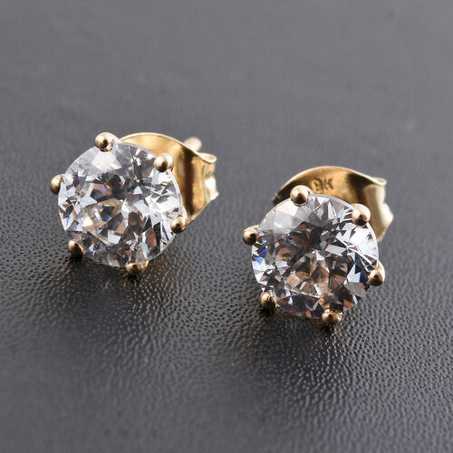 9K Yellow Gold Solitaire Stud Earrings Made with SWAROVSKI ZIRCONIA