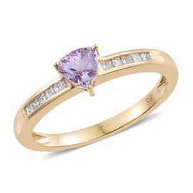 9K Y Gold AA Pink Tanzanite (Trl), Diamond Ring 0.750 Ct.