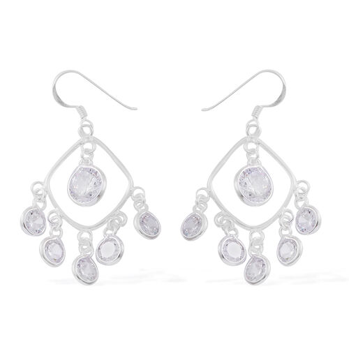 ELANZA AAA Simulated White Diamond (Rnd) Hook Earrings in Sterling Silver, Silver wt 4.60 Gms.