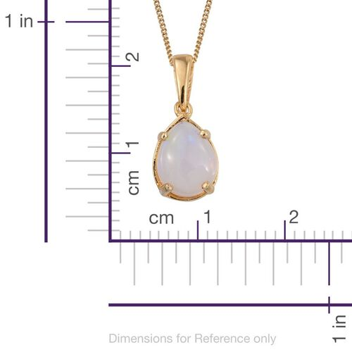 Ethiopian Welo Opal (Pear) Solitaire Pendant with Chain in 14K Gold Overlay Sterling Silver 1.000 Ct.