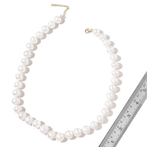9K Y Gold Top Lustre Premium AAA Fresh Water White Pearl Necklace (Very Rare Size 13-14 mm) Size 18 with 2 inch Extender)