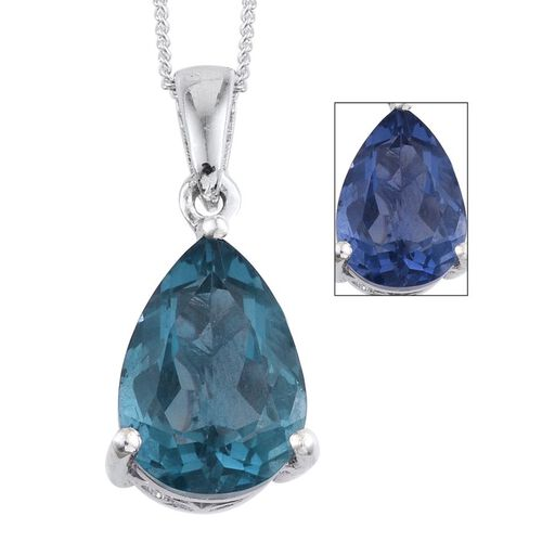 Colour Change Fluorite (Pear) Solitaire Pendant With Chain in Platinum Overlay Sterling Silver 5.000 Ct.