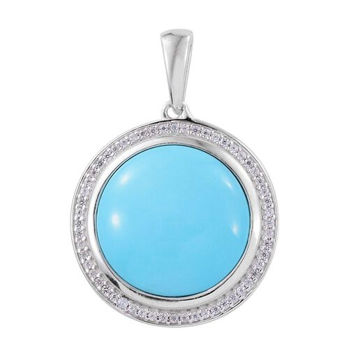 Arizona Sleeping Beauty Turquoise (Rnd), Natural Cambodian Zircon Pendant in Platinum Overlay Sterling Silver 12.000 Ct.