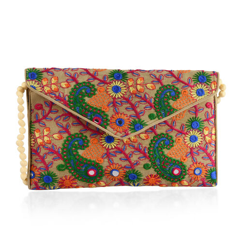 Designer Inspired - Green, Beige and Multi Colour Paisley and Floral Embroidered Envelope Design Velvet Sling Bag (Size 30X20 Cm)