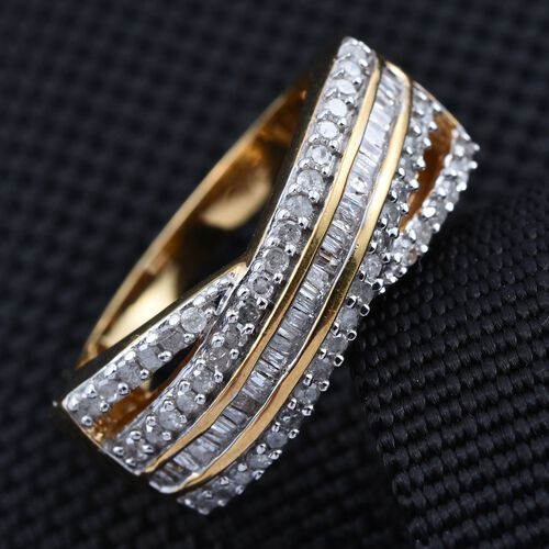 Diamond (Bgt) Criss Cross Ring in 14K Gold Overlay Sterling Silver 0.500 Ct.