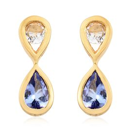 Tanzanite, White Topaz 0.80 Ct Silver Infinity Earrings in Gold Overlay (with Push Back)