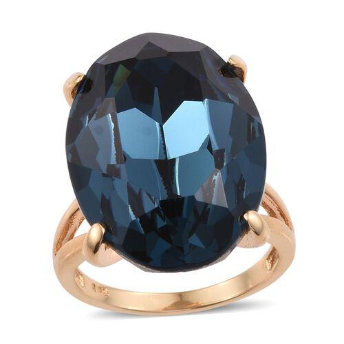 Crystal from Swarovski - Montana Crystal (Ovl) Ring in ION Plated 18K YG Bond