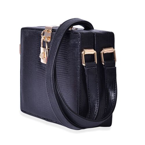 Debora Lizard Look Structured Ladylike Black Colour Clutch Bag (Size 20x14x13 Cm)