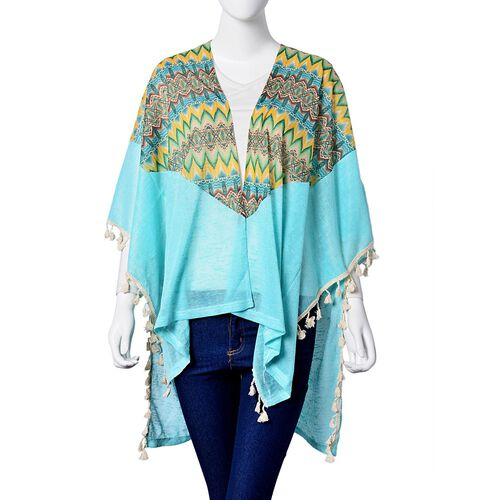 Multi Colour Rhombus Pattern Blue Colour Poncho with Tassels (Size 80X70 Cm)