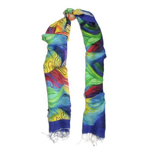 100% Katan Silk Blue, Red and Multi Colour Digital Print Peacock Feather Pattern Scarf with Tassels (Size 200x70 Cm)