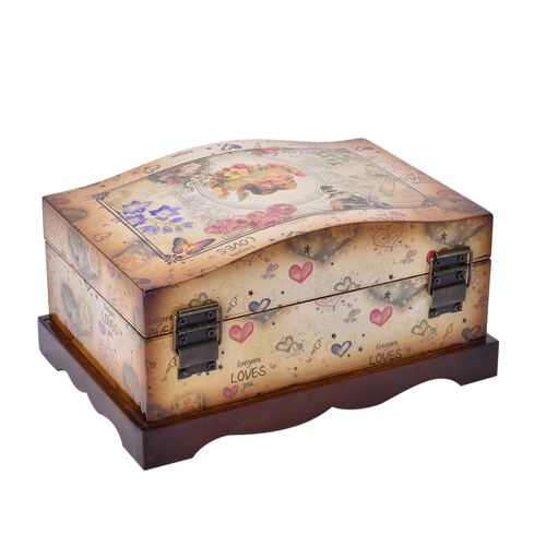 Set of 2 - Chocolate and Multi Colour Heart and Floral Pattern Vintage Style MDF Jewellery Box (Size 24X16X12 and 20.5X12.5X9 Cm)