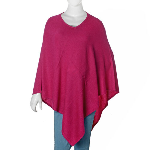Limited Available - 100% Pashmina Wool Dark Pink Colour Poncho (Free Size)