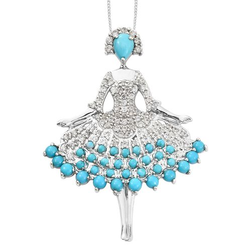 Arizona Sleeping Beauty Turquoise (Pear and Rnd), Natural Cambodian Zircon Ballerina Pendant with Chain in Platinum Overlay Sterling Silver 5.250 Ct. Silver wt 9.00 Gms. Number of Gemstone 126