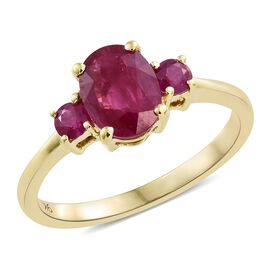 9K Yellow Gold AAA Burmese Ruby (Ovl 1.50 Ct) Ring 1.750 Ct.