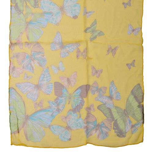 100% Mulberry Silk Green, Blue and Multi Colour Butterfly Pattern Yellow Colour Scarf (Size 170x50 Cm)