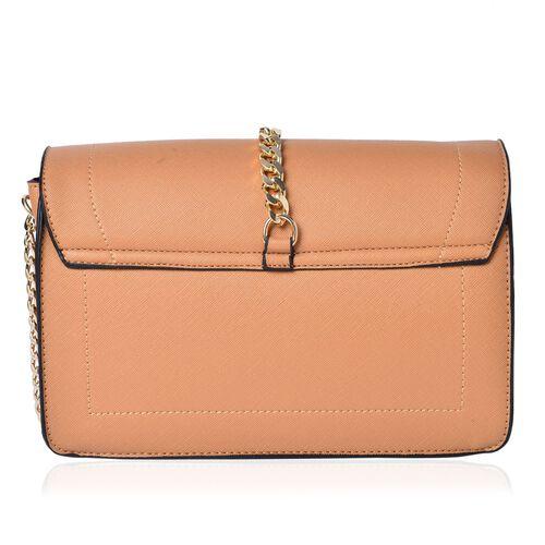 Beige Colour Crossbody Bag with Flap Closure (Size 25x18x9 Cm)