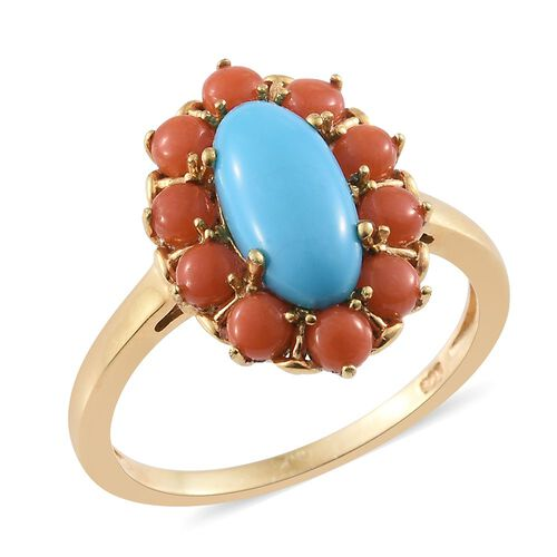Arizona Sleeping Beauty Turquoise (Ovl 1.50), Natural Mediterranean Coral Ring in 14K Gold Overlay Sterling Silver 3.000 Ct.