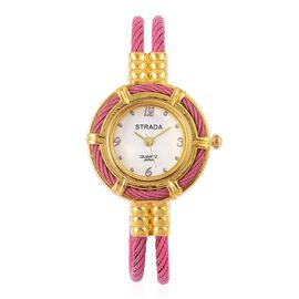 STRADA Japanese Movement Pink Colour Bangle Watch in Gold Tone with Stainless Steel Back