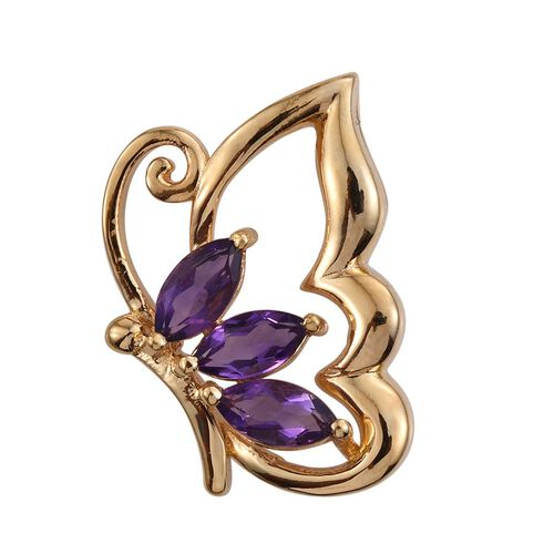Natural Uruguay Amethyst (Mrq) Butterfly Pendant in 14K Gold Overlay Sterling Silver 1.250 Ct.
