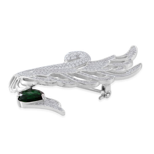 Signature Collection ELANZA AAA Simulated Emerald (Pear), Simulated White Diamond Swan Brooch or Pendant in Rhodium Plated Sterling Silver
