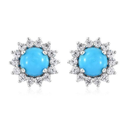 AAA Arizona Sleeping Beauty Turquoise (Rnd), Natural Cambodian Zircon Stud Earrings (with Push Back) in Platinum Overlay Sterling Silver 5.000 Ct.
