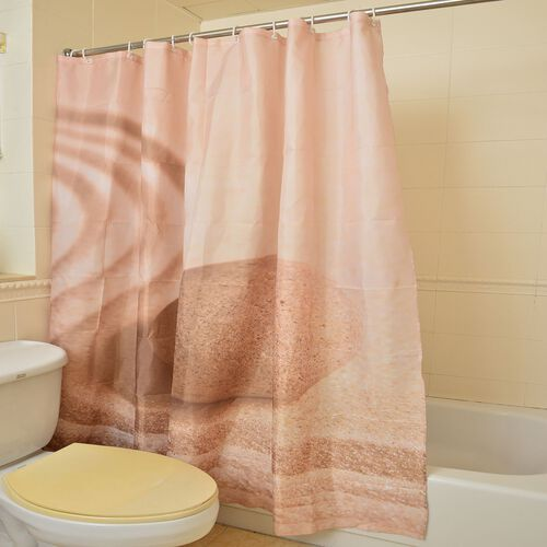 Brown Colour Water Proof Shower Curtain with 12 Plastic Hooks (Size 180X180 Cm)