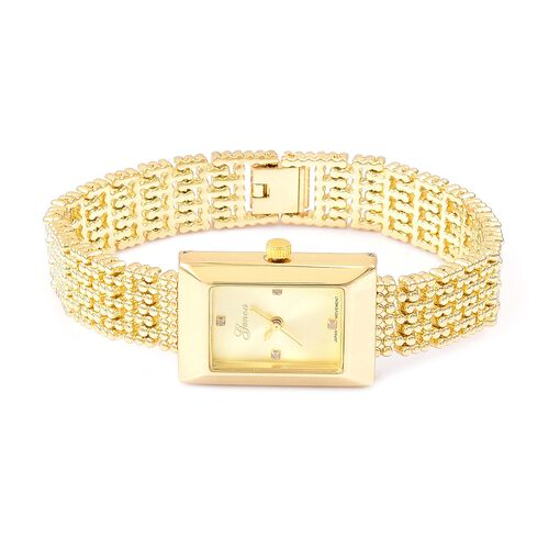 Designer Inspired- Diamond Studded GENOA Japanese Movement Bracelet Watch in Yellow Gold Tone