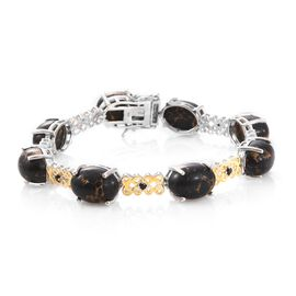 Designer Inspired-Arizona Mojave Black Turquoise (Ovl), Boi Ploi Black Spinel Bracelet (Size 7.75) in Platinum and Yellow Gold Overlay Sterling Silver 51.750 Ct. Silver wt. 15.00 Gms.