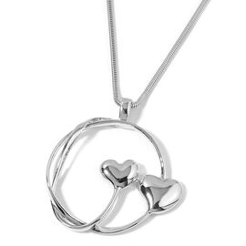 Heart Pendant with Snake Chain in Silver Tone