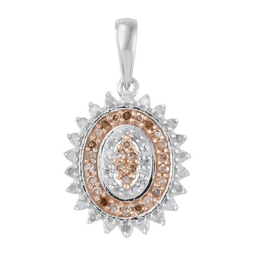 Natural Champagne Diamond (Rnd), White Diamond Pendant With Chain in Platinum Overlay Sterling Silver 0.50 Ct.